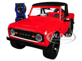 1973 Ford Bronco Red Matt Black Top Extra Wheels Just Trucks Series 1/24 Diecast Model Car Jada 30518