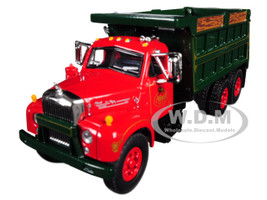 Mack B-61 Tandem Axle Dump Truck Mack Trucks Inc Red Cab Green Body 1/64 Diecast Model First Gear 60-0404