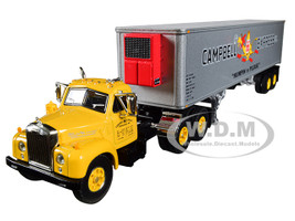 Mack B-61 Day Cab Yellow 40' Vintage Reefer Trailer Campbell 66 Express Inc 21 Fallen Flag Series 1/64 Diecast Model First Gear 60-0423
