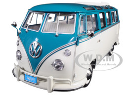 1962 Volkswagen Samba Bus Custom Beige Blue Top Limited Edition 888 pieces Worldwide 1/12 Diecast Model Sunstar 5084