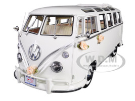 1962 Volkswagen Samba Bus Wedding Version White Limited Edition 888 pieces Worldwide 1/12 Diecast Model Sunstar 5085
