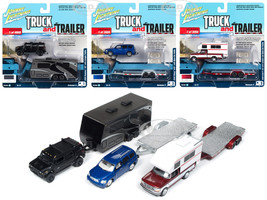 Truck and Trailer Series 3 Set A 3 Cars 1/64 Diecast Model Cars Johnny Lightning JLBT008 A