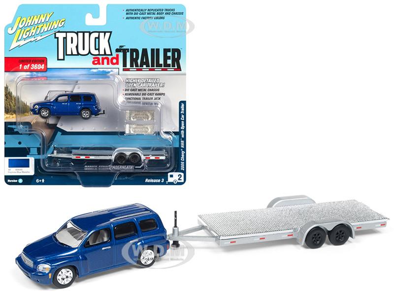 2006 Chevrolet HHR Daytona Blue Chrome Open Car Trailer Limited Edition 3604 pieces Worldwide Truck and Trailer Series 3 1/64 Diecast Model Car Johnny Lightning JLSP035 A