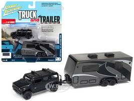 2004 Hummer H2 Black Gunmetal Camper Trailer Limited Edition 4000 pieces Worldwide Truck and Trailer Series 3 1/64 Diecast Model Car Johnny Lightning JLSP037 A