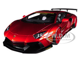 Lamborghini Aventador LB-Works Metallic Red Red Wheels 1/18 Model Car Autoart 79109