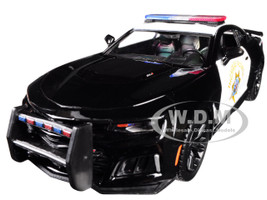 2017 Chevrolet Camaro ZL1 California Highway Patrol CHP Black White Law Enforcement Public Service Series 1/24 Diecast Model Car Motormax 76967