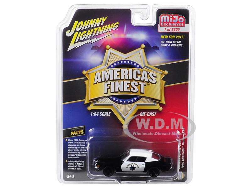 1970 Chevrolet Camaro Z28 California Highway Patrol CHP Black White America's Finest Limited Edition 3600 pieces Worldwide 1/64 Diecast Model Car Johnny Lightning JLCP7025