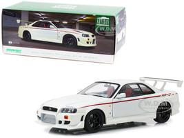 1999 Nissan Skyline GT-R BNR34 RHD Right Hand Drive Pearl White Stripes Graphics 1/18 Diecast Model Car Greenlight 19049