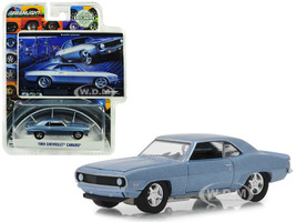 1969 Chevrolet Camaro Steel Blue Bowtie Pastya BFGoodrich Vintage Ad Cars Hobby Exclusive 1/64 Diecast Model Car Greenlight 29976