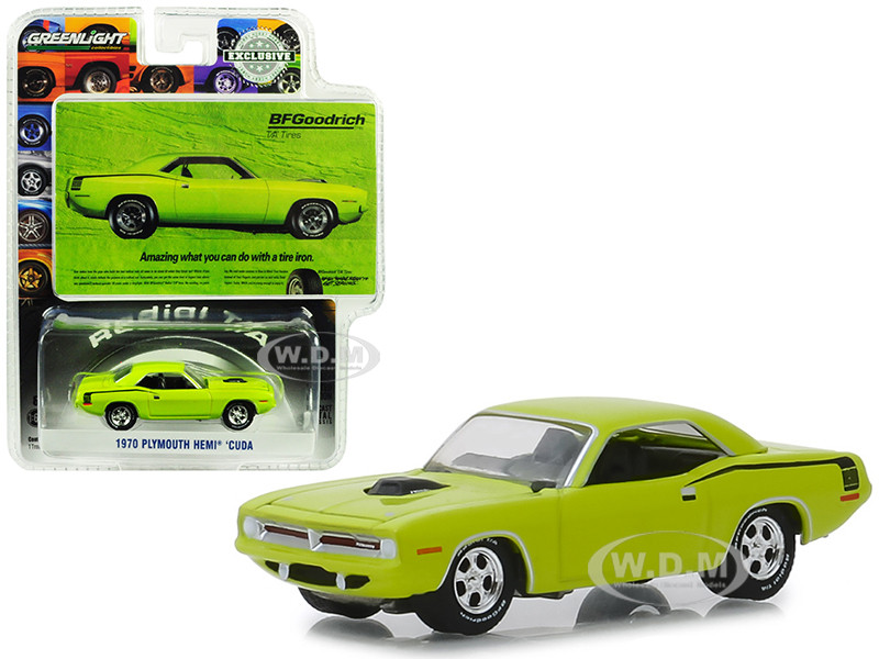 1970 Plymouth HEMI Barracuda Lime Green Amazing What You Can Do With A Tire Iron BFGoodrich Vintage Ad Cars Hobby Exclusive 1/64 Diecast Model Car Greenlight 29977