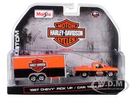 1987 Chevrolet Pickup Truck Enclosed Car Trailer Orange Black Harley Davidson 1/64 Diecast Model Car Maisto 15363-HD1