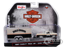 1987 Chevrolet Pickup Truck Enclosed Car Trailer Pearl Beige Silver Black Harley Davidson 1/64 Diecast Model Car Maisto 15363-HD2