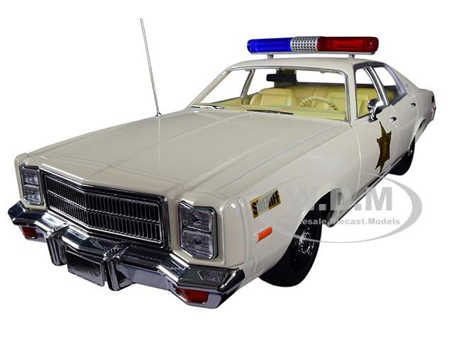 1977 Plymouth Fury Hazzard County Sheriff Cream 1/18 Diecast Model Car Greenlight 19055