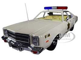 1977 Plymouth Fury Hazzard County Sheriff Cream 1/18 Diecast Model Car Greenlight 19055
