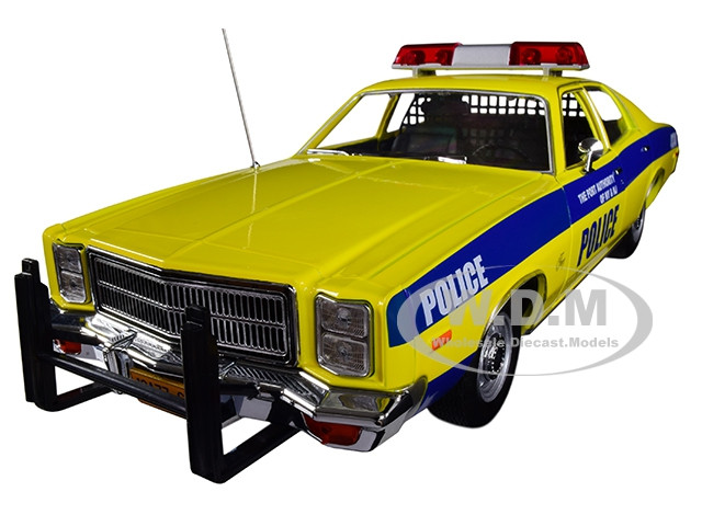 1977 Plymouth Fury Port Authority New York New Jersey Police Yellow Blue Stripes 1/18 Diecast Model Car Greenlight 19056