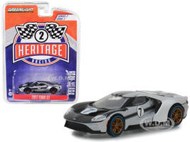 2017 Ford GT #7 Tribute 1966 Ford GT40 Mk II Silver Black Ford Racing Heritage Series 2 1/64 Diecast Model Car Greenlight 13220 B