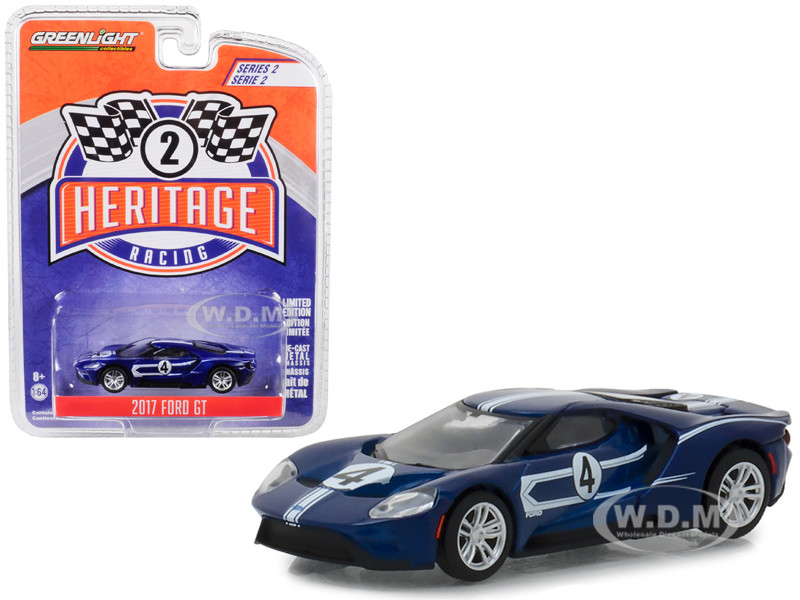 2017 Ford GT #4 Tribute 1967 Ford GT40 Mk IV Blue White Stripes Ford Racing Heritage Series 2 1/64 Diecast Model Car Greenlight 13220 C
