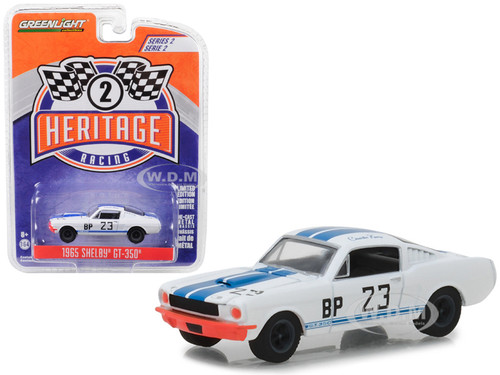 1965 Ford Mustang Shelby GT350 BP #23 Charlie Kemp White Blue Stripes Ford Racing Heritage Series 2 1/64 Diecast Model Car Greenlight 13220 D