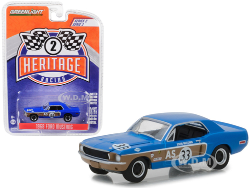 1968 Ford Mustang AS #33 John McComb Trans Am Continental Divide Blue Ford Racing Heritage Series 2 1/64 Diecast Model Car Greenlight 13220 E
