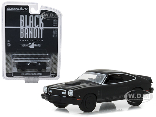 1976 Ford Mustang II Cobra II Black Bandit Series 20 1/64 Diecast Model Car Greenlight 27960 E