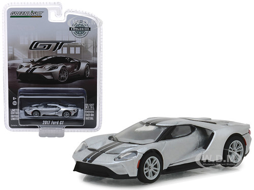 2017 Ford GT Ingot Silver Black Stripes Hobby Exclusive 1/64 Diecast Model Car Greenlight 29992