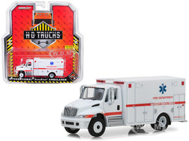 International Durastar Ambulance Fire Department Emergency Medical Services ALS Unit White HD Trucks Series 14 1/64 Diecast Model Greenlight 33140 B