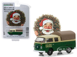 1978 Volkswagen Double Cab Pickup Canopy Holiday Wreaths Green Yellow Norman Rockwell Delivery Vehicles Series 1 1/64 Diecast Model Greenlight 37150 F