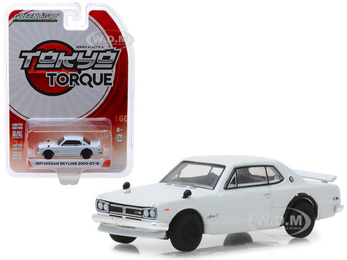 1971 Nissan Skyline 2000 GT-R White Tokyo Torque Series 4 1/64 Diecast Model Car Greenlight 47020 B