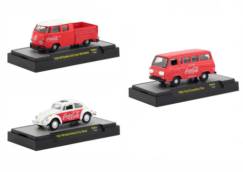 Coca Cola Release 4 Set 3 Cars Limited Edition 4800 pieces Worldwide Hobby Exclusive 1/64 Diecast Models M2 Machines 52500-RW04