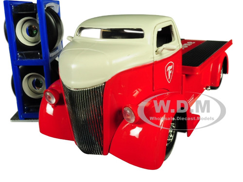 1947 Ford COE Tow Truck Red White Top Firestone Extra Wheels Just Trucks Series 1/24 Diecast Model Car Jada 30523