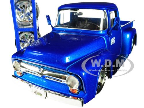 1956 Ford F-100 Pickup Truck Blue Nitrous Express NX Extra Wheels Just Trucks Series 1/24 Diecast Model Car Jada 30709