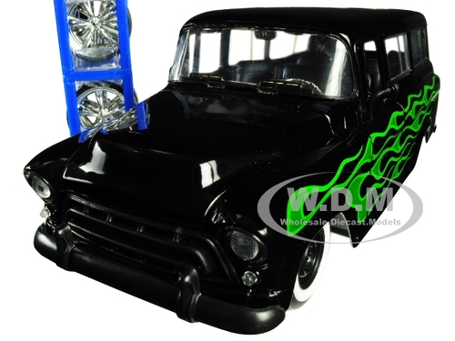 1957 Chevrolet Suburban Black Green Flames Extra Wheels Just Trucks Series 1/24 Diecast Model Car Jada 97821