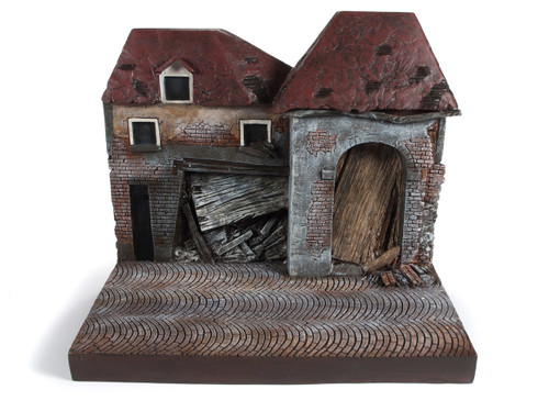 War Torn Building Resin Backdrop Display Greatest Generation Series 1/18 Scale Models Autoworld AWBD001 A