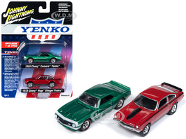 1968 Chevrolet Camaro Yenko Metallic Green 1972 Chevrolet Vega Stinger Yenko Red 2 piece Set Limited Edition 3750 pieces Worldwide 1/64 Diecast Model Cars Johnny Lightning JLPK005