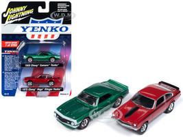 1968 Chevrolet Camaro Yenko Metallic Green 1972 Chevrolet Vega Stinger Yenko Red 2 piece Set Limited Edition 3750 pieces Worldwide 1/64 Diecast Model Cars Johnny Lightning JLPK005