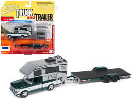 1993 Ford F-150 Metallic Green Silver Camper Chrome Open Car Trailer Limited Edition 3964 pieces Worldwide Truck and Trailer Series 3 1/64 Diecast Model Car Johnny Lightning JLSP036 B