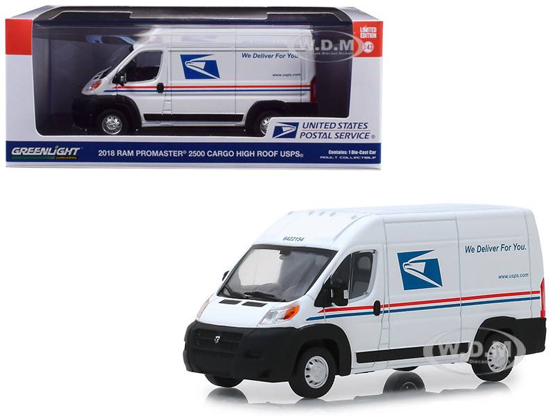 2018 RAM ProMaster 2500 Cargo High Roof United States Postal Service USPS White 1/43 Diecast Model Car Greenlight 86154