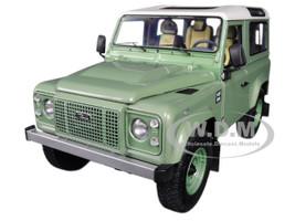 Land Rover Defender 90 Heritage Grasmere Green Alaska White Top 1/18 Diecast Model Car Kyosho 08901 GGR