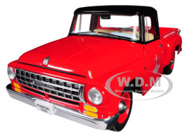 "International C1100 ""International Trucks"" Pickup Truck Red with Black Top 1/25 Diecast Model Car First Gear 40-0427"