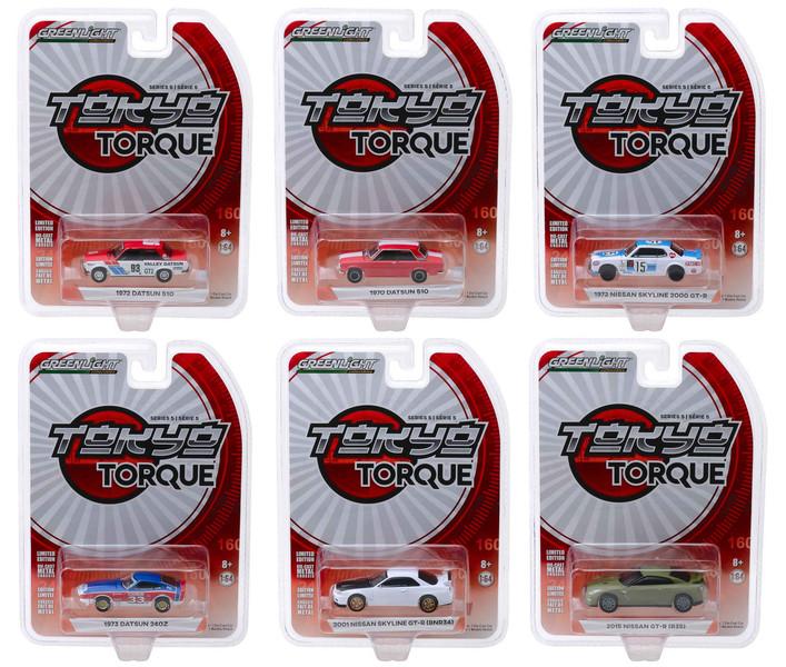 Tokyo Torque Series 5 Set 6 Cars 1/64 Diecast Models Greenlight 47030