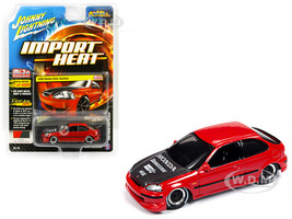 1998 Honda Civic Custom Red Carbon Hood Street Freaks Series Limited Edition 4800 pieces Worldwide 1/64 Diecast Model Car Johnny Lightning JLCP7173
