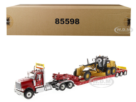 International HX520 Tandem Tractor Red XL 120 Lowboy Trailer CAT Caterpillar 12M3 Motor Grader Set 2 pieces 1/50 Diecast Models Diecast Masters 85598