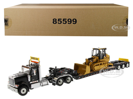 International HX520 Tandem Tractor Black XL 120 Lowboy Trailer CAT Caterpillar 963K Track Loader Set 2 pieces 1/50 Diecast Models Diecast Masters 85599