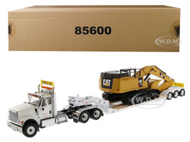 International HX520 Tandem Tractor White XL 120 Lowboy Trailer CAT Caterpillar 349F L XE Hydraulic Excavator Set 2 pieces 1/50 Diecast Models Diecast Masters 85600