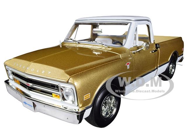 1968 Chevrolet C-10 Fleet Side Pickup Truck Metallic Gold White Top Limited Edition 1002 pieces Worldwide 1/18 Diecast Model Car Autoworld AMM1165