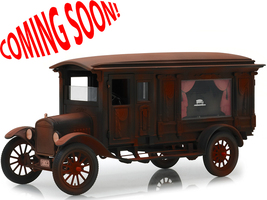 1921 Ford Model T Ornate Carved Hearse Unrestored Barn Find Black Coffin Precision Collection 1/18 Diecast Model Car Greenlight 18014