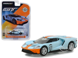 2019 Ford GT #9 Gulf Racing Blue Yellow Stripes Heritage Edition Hobby Exclusive 1/64 Diecast Model Car Greenlight 29909