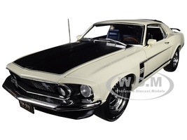 1969 Ford Mustang Boss 302 White Black Hood Black Stripes Celebrating 50 Years of the Boss Limited Edition 660 pieces Worldwide 1/18 Diecast Model Car ACME A1801831