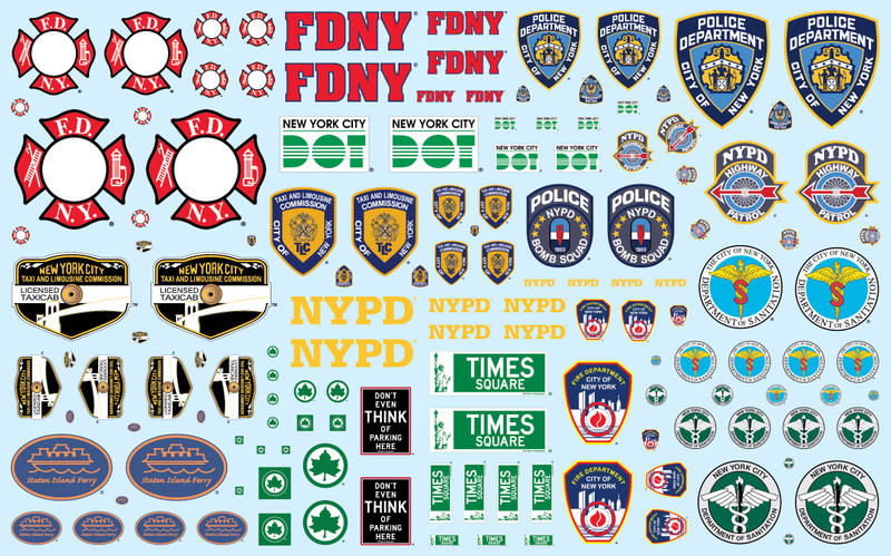 NYC Auxiliary Service Logos Decals for 1/25 Scale Models AMT MKA034