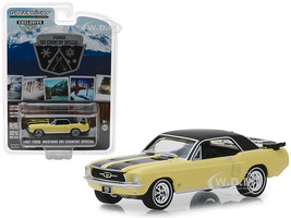 1967 Ford Mustang Coupe Yellow Black Stripes Pair Skis Ski Country Special Hobby Exclusive 1/64 Diecast Model Car Greenlight 30007